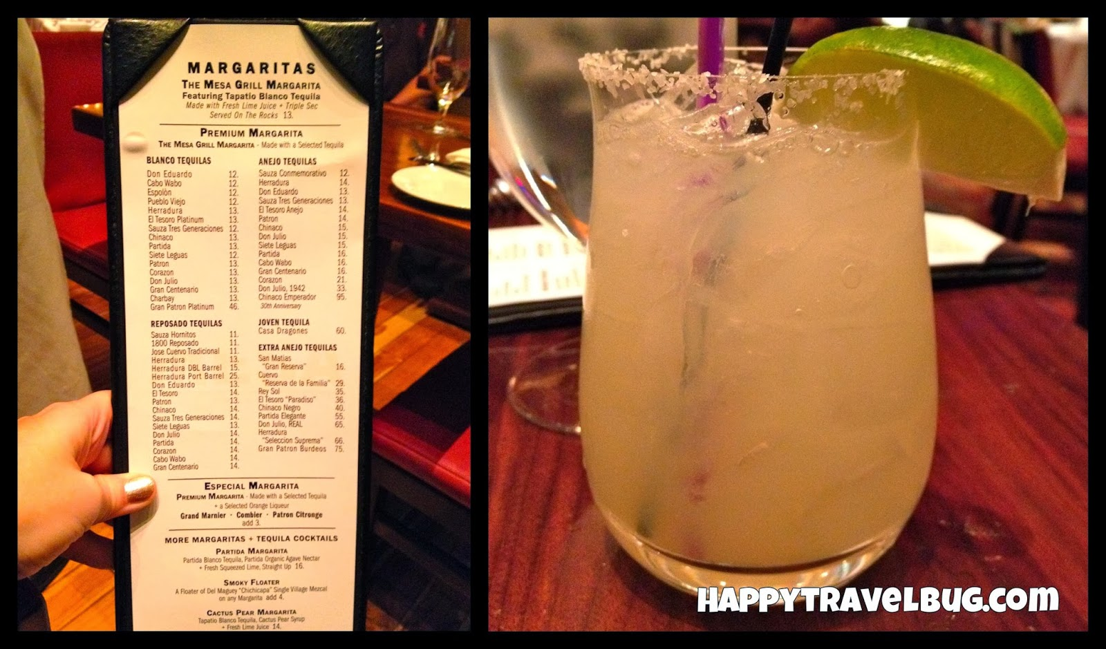Margarita and drink menu from Mesa Grill in Las Vegas