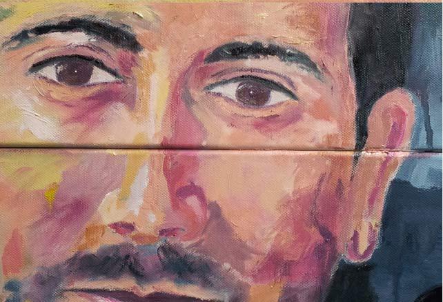retrato al oleo detalle de los ojos