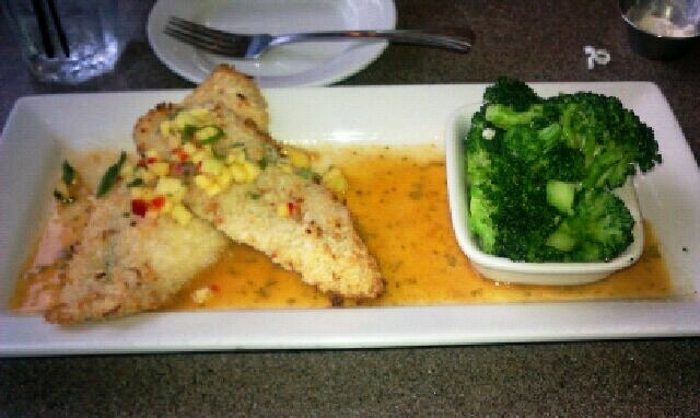 Macadamia Nut crusted Tilapia with Corn Salsa and Broccoli