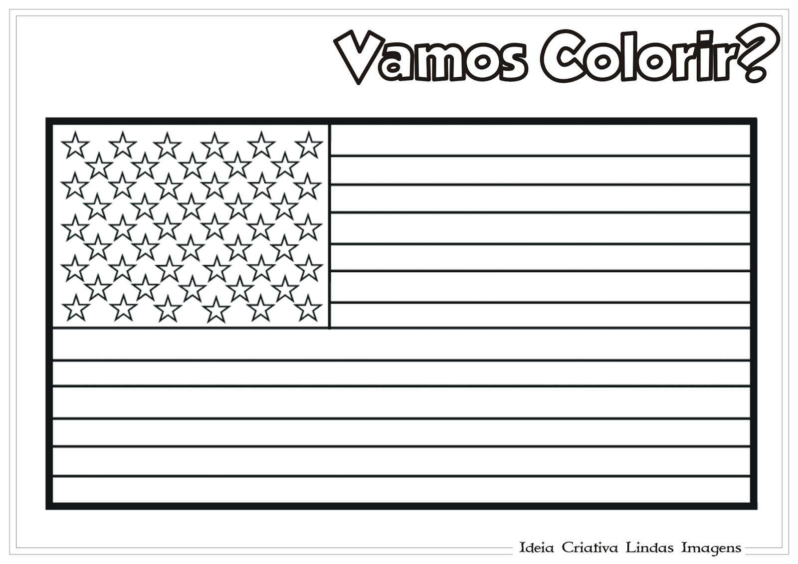 Copa do Mundo 2014: Grupo G - Bandeira dos Estados Unidos para colorir