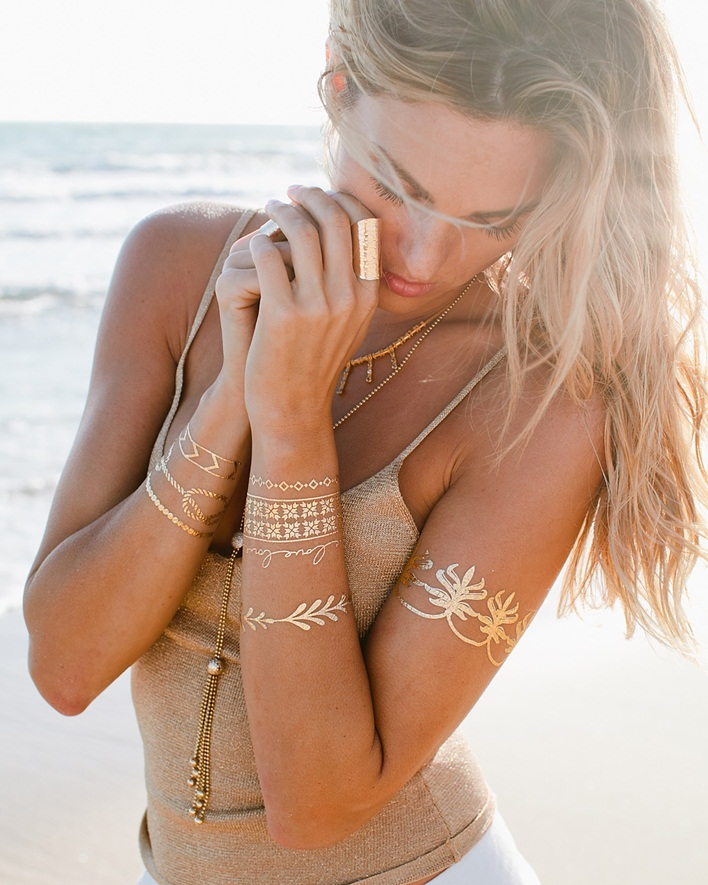 Tips and tricks Stacking Your Jewelry, gold temporary tattoos, California style