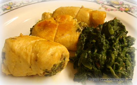 Involtini con spinaci e prosciutto crudo