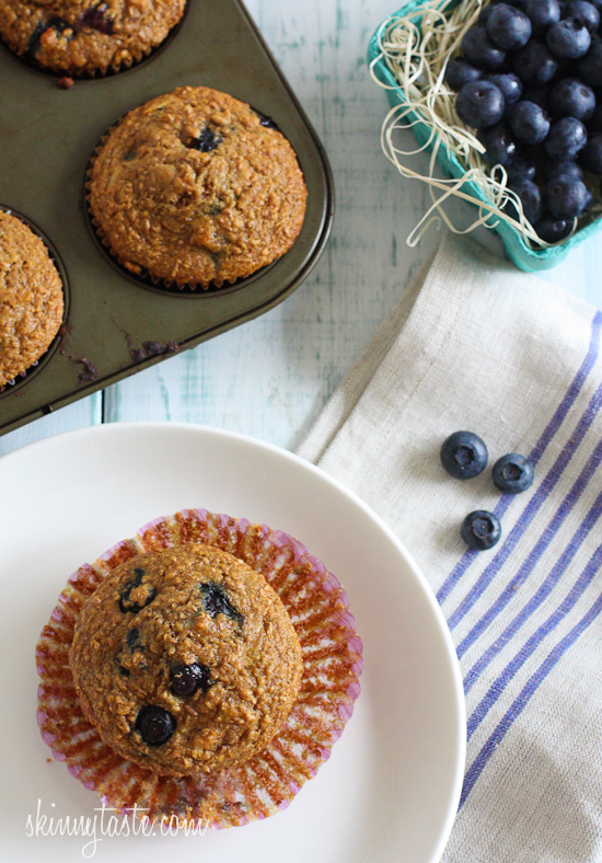Honey Coconut Blueberry Bran Muffins | Skinnytaste