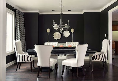 black walls white dining room dramatic rooms