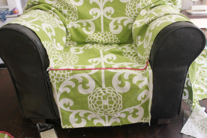 Next I Draped The Bottom Piece That Goes From The Seat Bottom To The Bottom  Of The Chair. I Sewed That To The Piped Edge Of Seat Bottom.