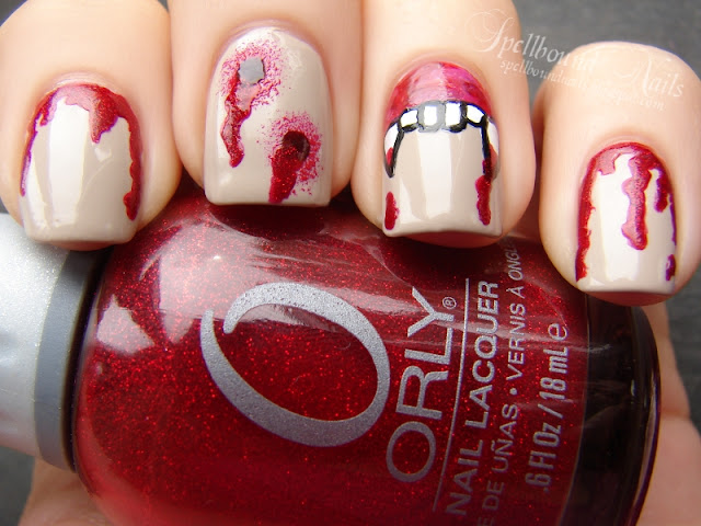 nails nailart nail art mani manicure Spellbound Nail-Aween Halloween Challenge bloody blood drips shimmer glitter Orly vampire bite bites Just Bitten fangs