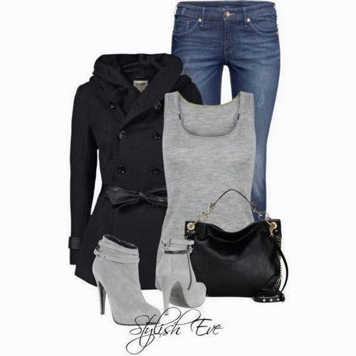 Black trench coat, grey blouse, jeans and handbag for fall