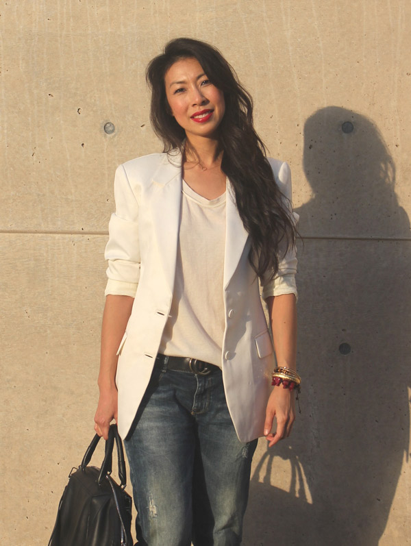 thrifted white blazer, Phillip Lim silk and wool tank, Zara distressed jeans, Balenciaga glove sandals, Alexander Wang Emile tote