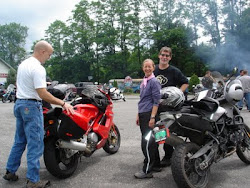 Chris and his Ducati with Lynn and Mike in Putney, VT