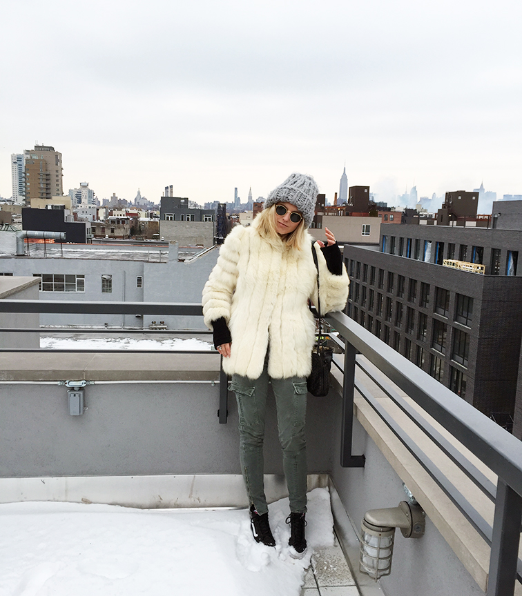 Fashion Over Reason rooftop chronicles, winter, fur, outerwear, J Brand, Vans, Vans Girls, New York City, NYC, Manhattan skyline, Bottega Veneta bag, Ray-Ban Lennon sunglasses