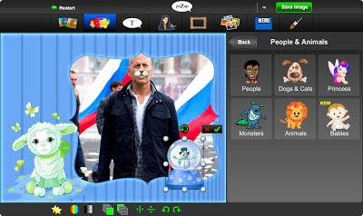 стикеры и работа со стикерами в бесплатном онлайн фото редакторе piZap для новичков