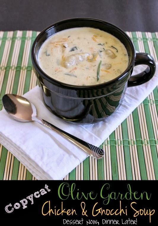 Copycat olive garden chicken gnocchi soup dessert now dinner later for Copycat olive garden chicken gnocchi soup