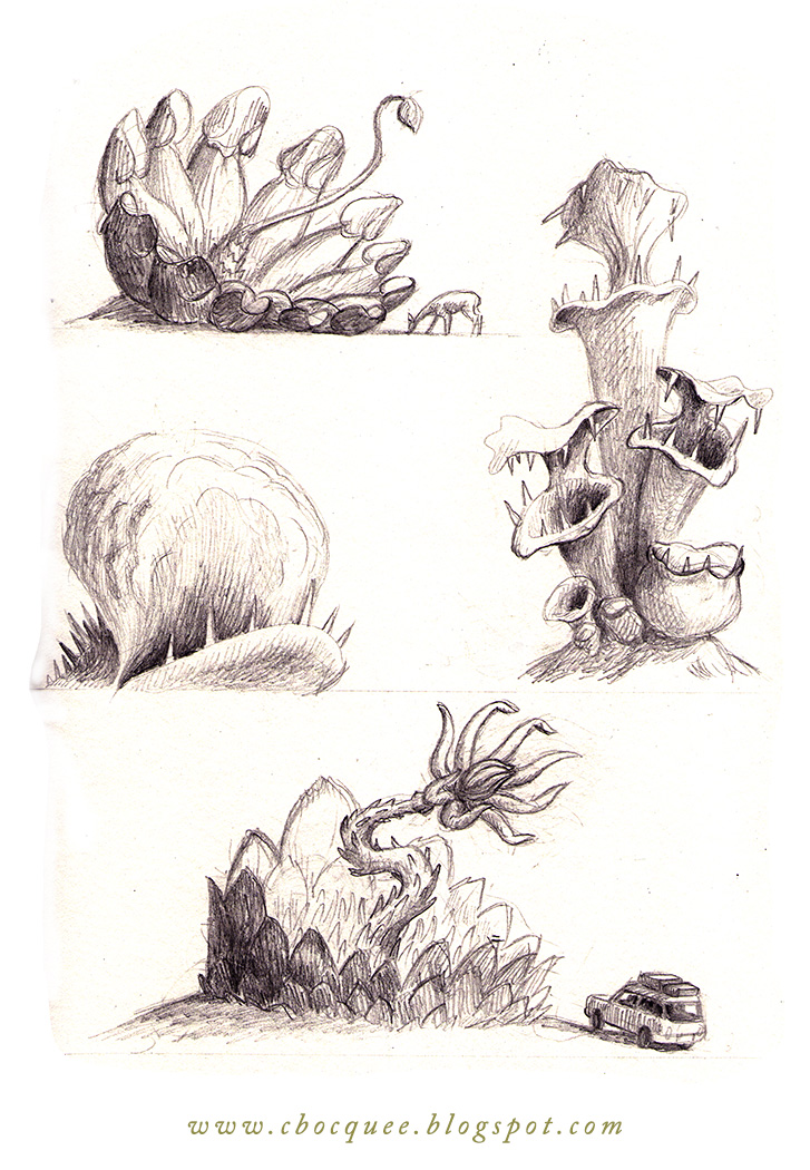 Concept art drawing of carnivorous man-eating plants