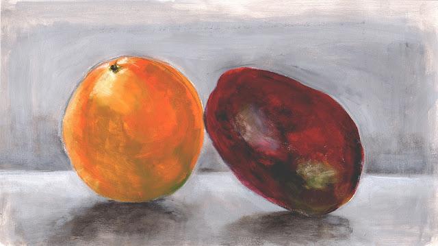 manu lafay nature morte orange mangue peinture acrylique