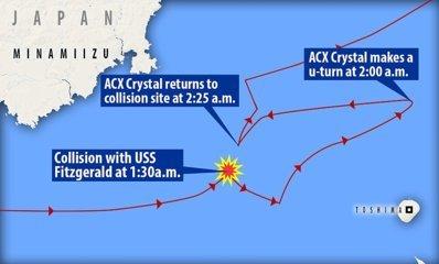 衝突前後のコンテナ船(Crystal) の航路図