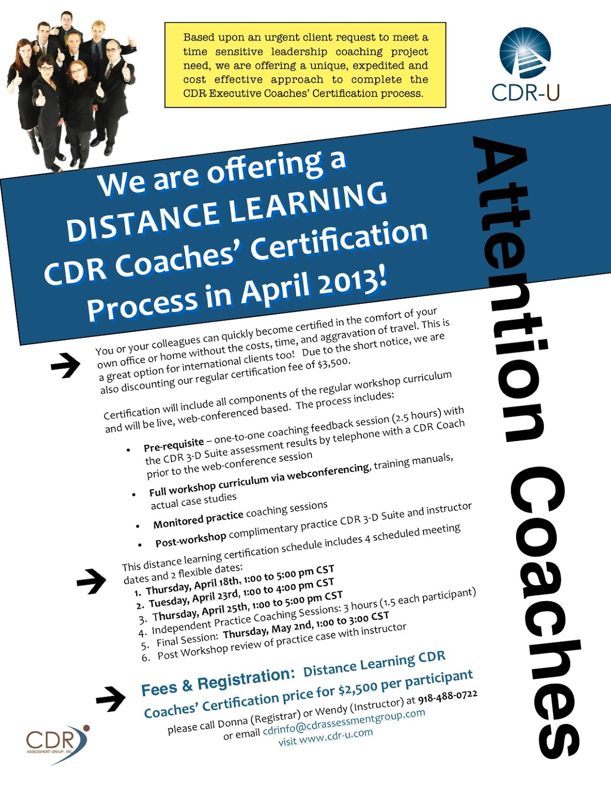 Special Distance Learning Certification in APRIL! - CDR Assessment ...