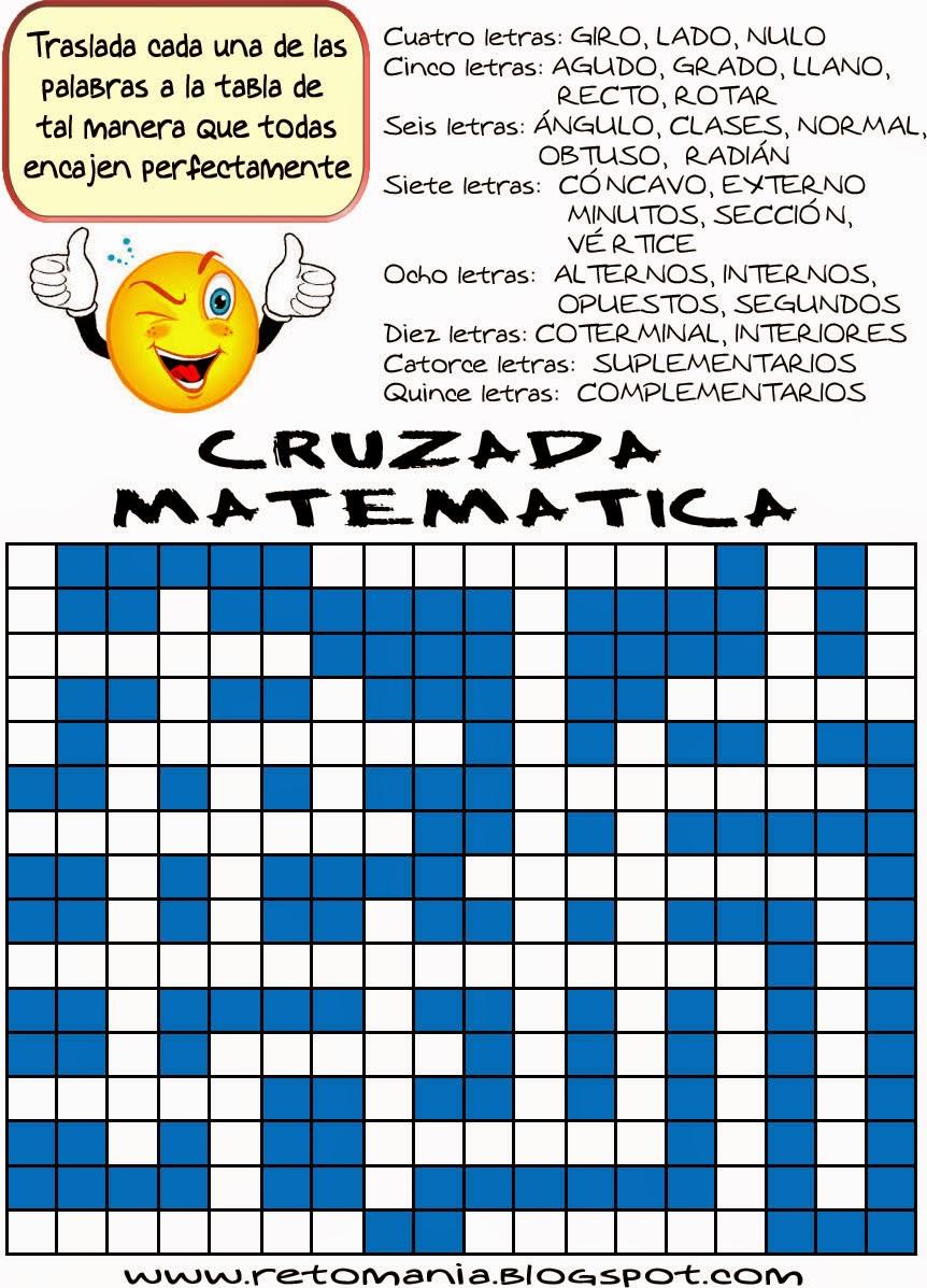 Cruzada, Cruzada matemática, Cruzapalabras, Palabras cruzadas, Juego de letras, Reto matemático, Desafío matemático, Sopa de letras