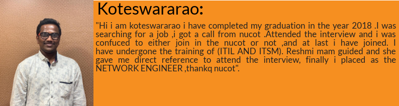 Koteswarao got placed as Network Engineer