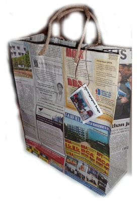 gift bag made from recycled newspapers