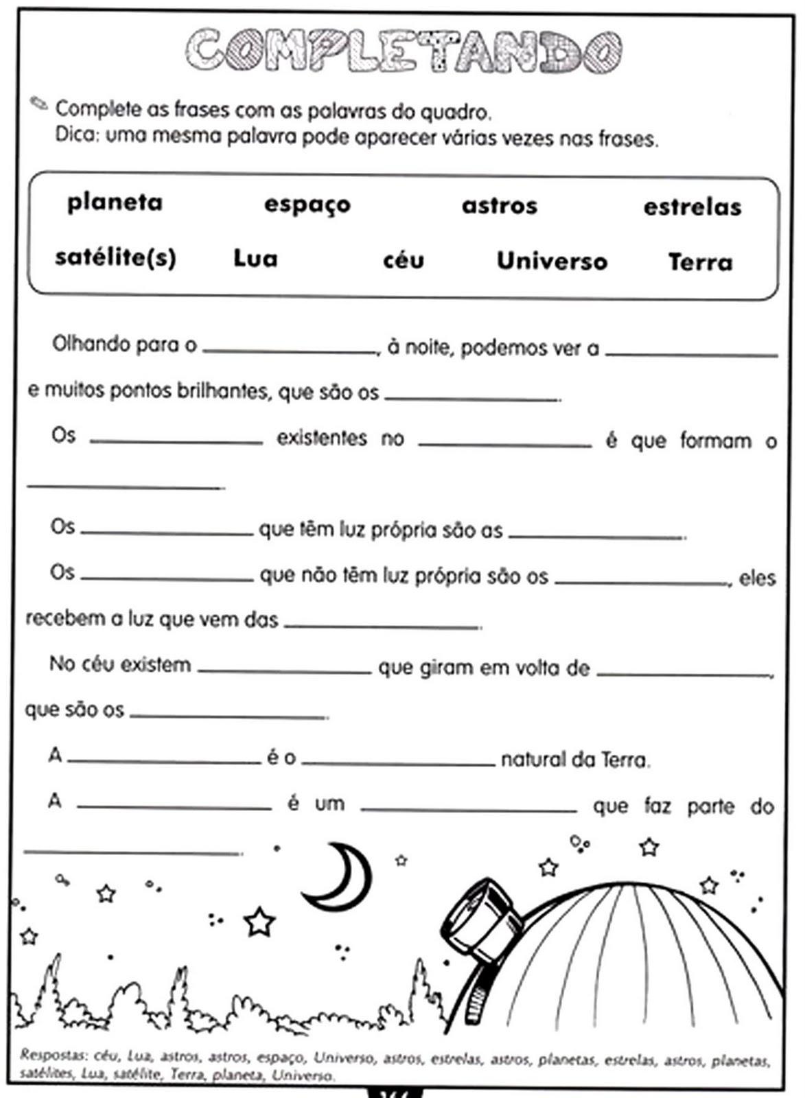 Muito EDUCARE: Atividades - Sistema solar YO08
