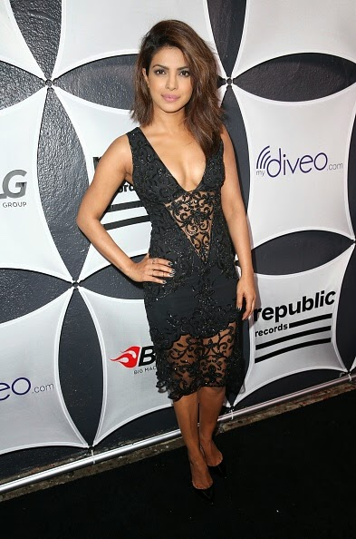 Priyanka Chopra big Cleavage in Black See-through Dress at GRAMMY After Party