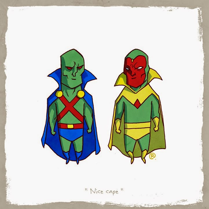 Martian Hunter and Vision wearing their capes together.