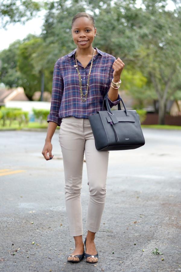 Plaid Shirt + Khaki Ankle Pant + Leopard Flats | Fall Work Outfits
