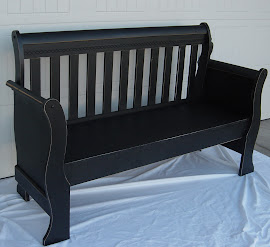 Black Distressed Sleigh Bench (SOLD)
