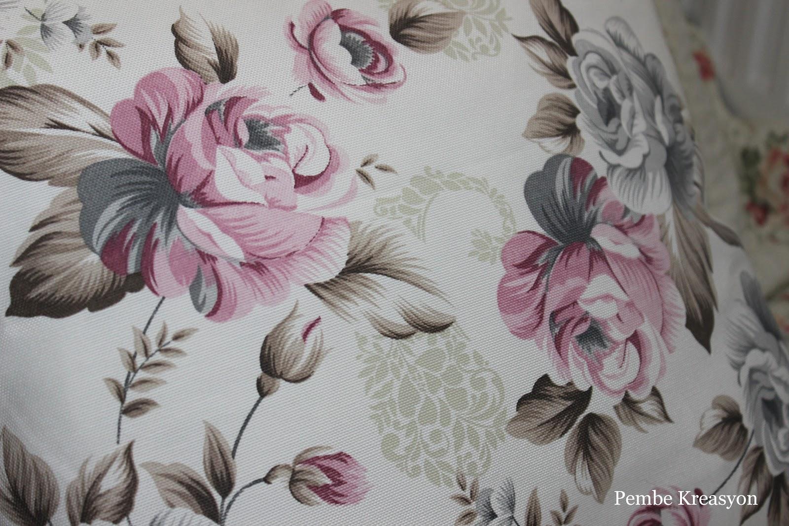 Çiçek desenli vintage kırlent, pembe çiçek desenli kırlent, pembe kırlent, english home kırlent, kırlent nasıl dikilir, kırlent ölçüleri, duck kumaşlar
