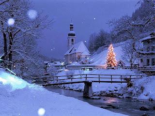 Navidad azul en la aldea