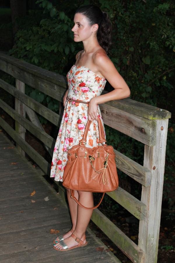 Floral dress, woven belt, cognac bag