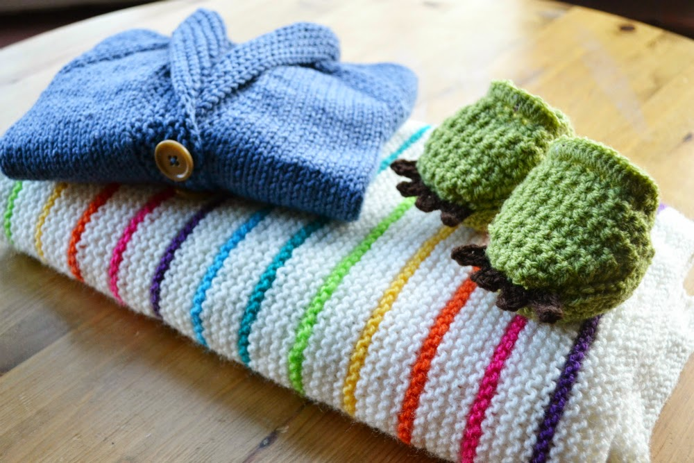 Knitted and crocheted baby gifts