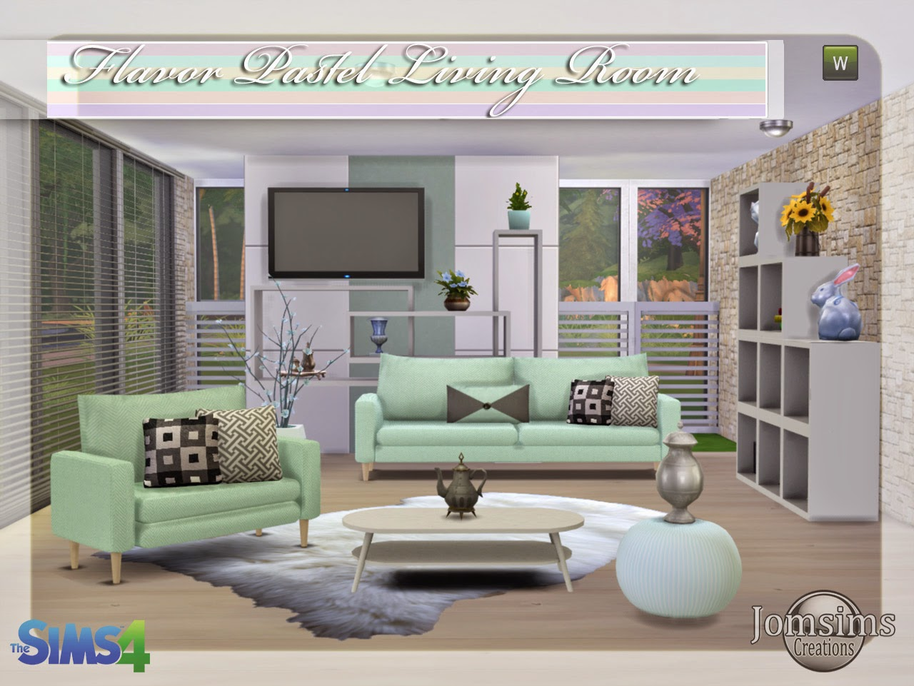 Jomsimscreations blog new living room sims 4 flavor for Living room sims 4