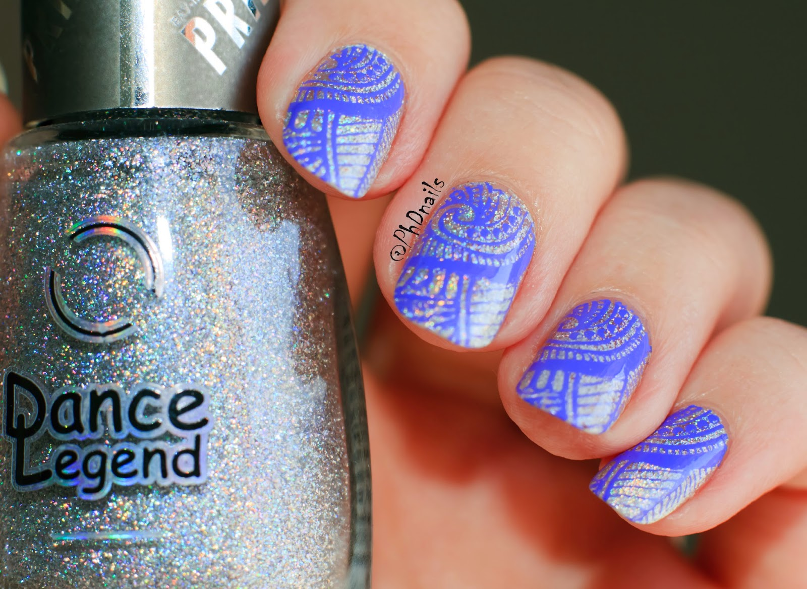 PhD nails: Stamping nail art Silver fantasy with Dance legend Steel ...