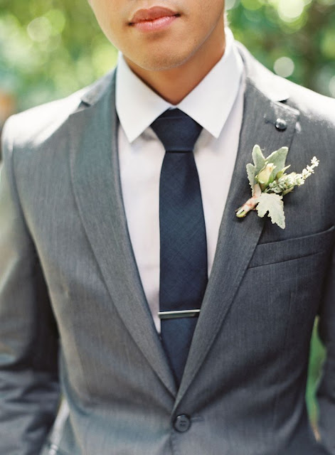 Stone gray suit, white shirt, solid navy necktie, and silver tie bar - seen on @Style Me Pretty