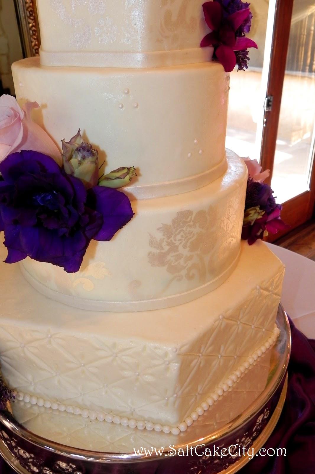 Salt Cake City Round & Hexagon Wedding Cake