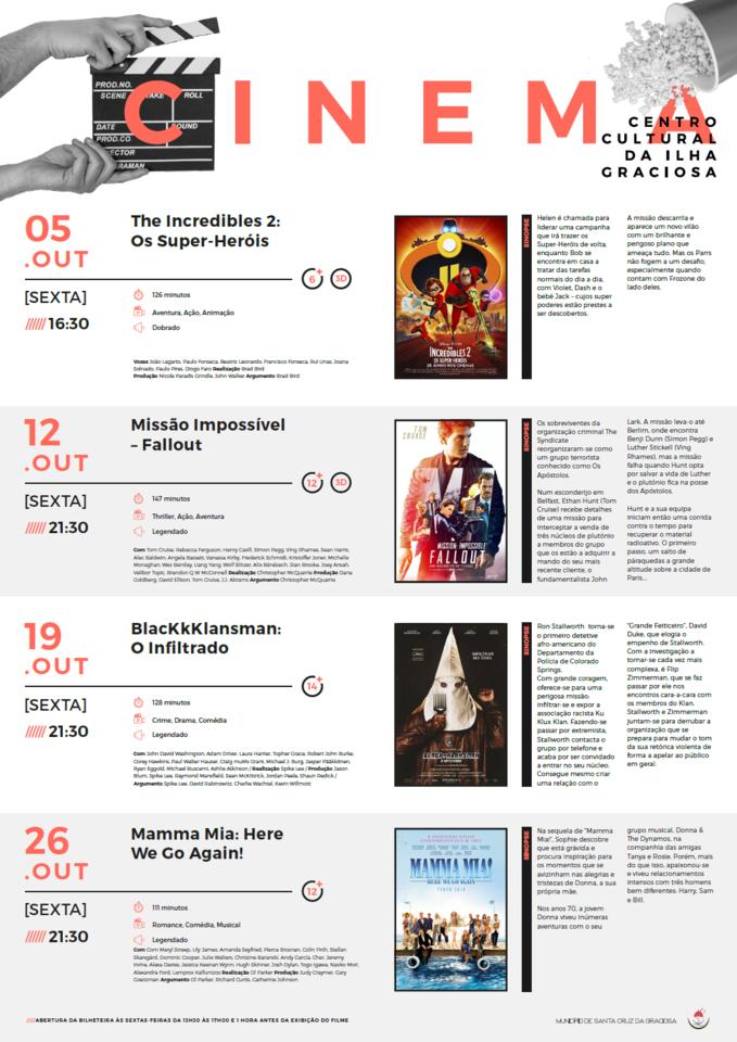 Cartaz Cinema-Outubro 2018