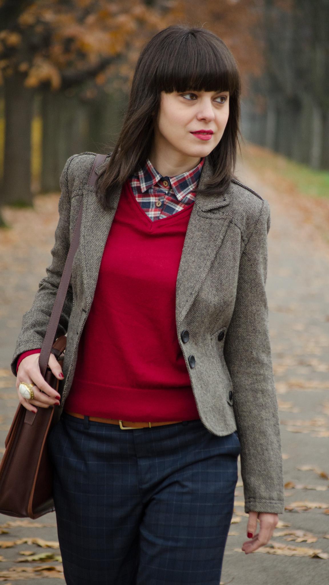 tartan boyish corporate look zara pants burgundy man shoes poema brown bag satchel fake shirt sweater koton thrifted