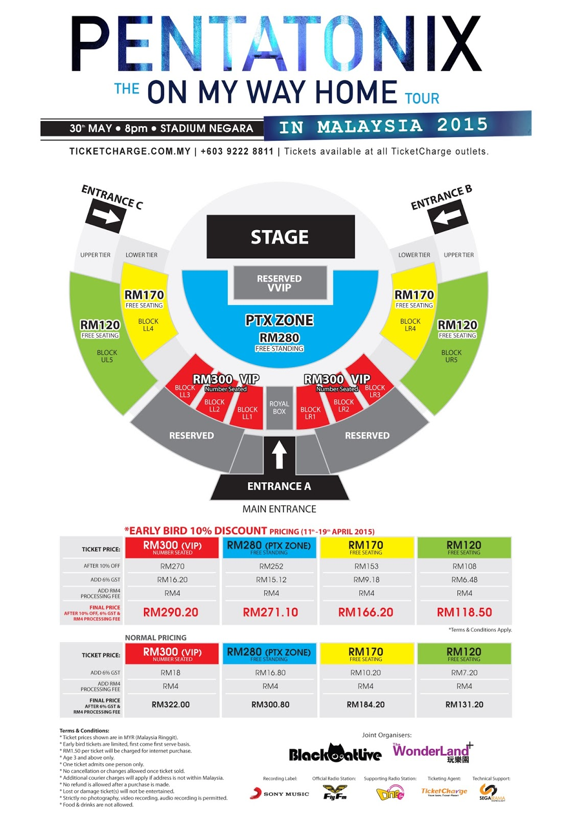 PENTATONIX Live in Malaysia 2015 - The On My Way Home Tour Seating Plan