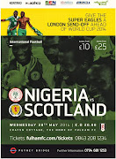 Wed/28/May: SUPER EAGLES vs SCOTLAND in London at Fulham FC