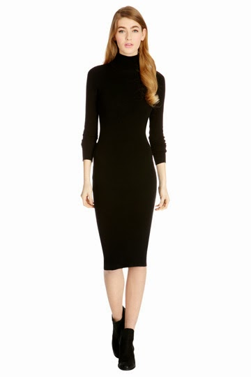 black roll neck dress