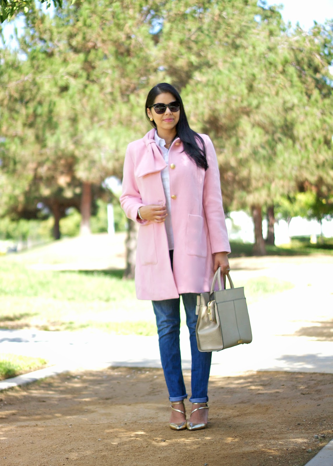 cabi tuscadero coat, pastel pink coat, pink coat outfit, how to wear a pastel coat, how to wear a pink coat
