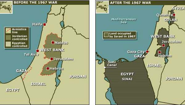 map of israel and palestine 1967. The Map of the borders