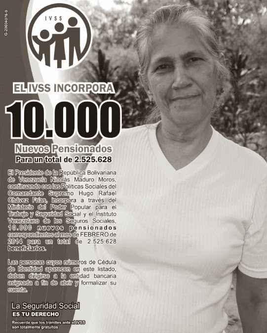 Ver lista de pensionados Amor mayor y IVSS (02/02/2014)