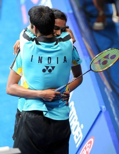 P.V. Sindhu with her coach Pullela Gopichand