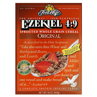 Most of the ingredients for the Ezekiel recipe for bread!