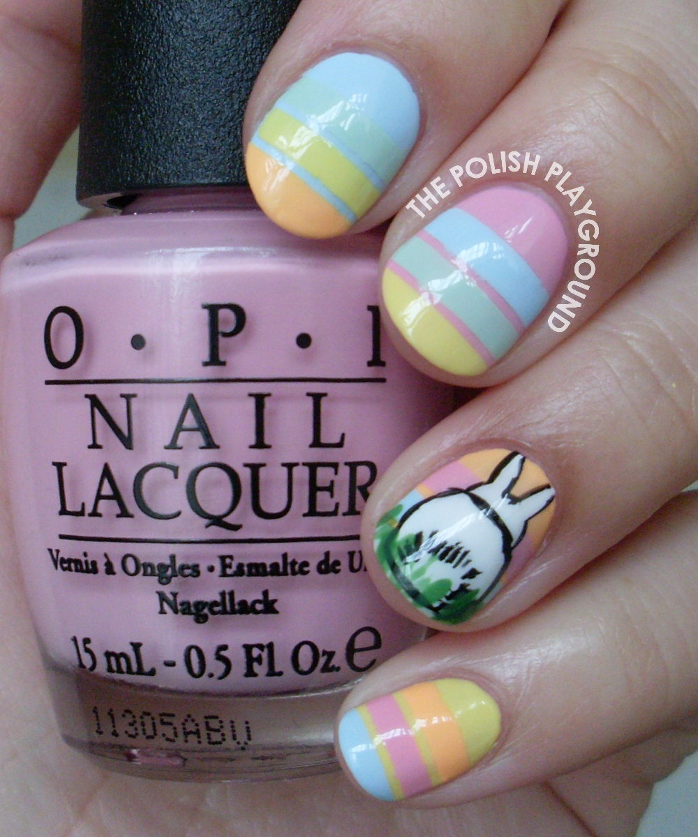 Bunny Butts with Pastel Stripes Nail Art