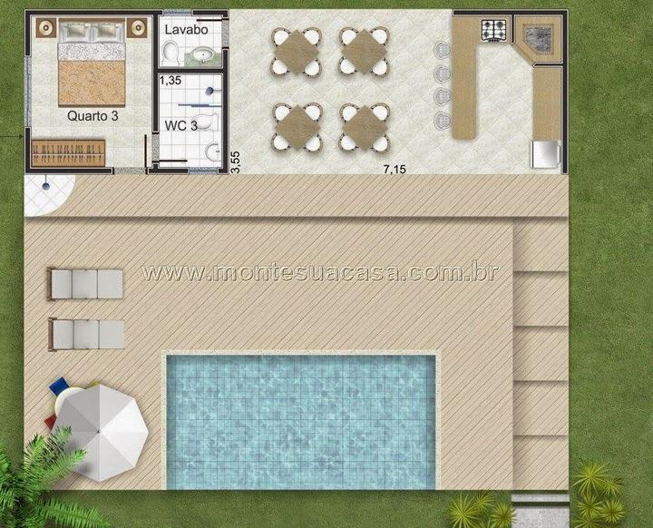 Planta de casa de 2 pavimentos com piscina