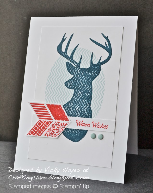 Christmas card using Oh Hello from Stampin Up get 25% discount off