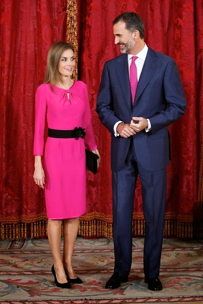 King Felipe VI of Spain and Queen Letizia of Spain receive President of Honduras Juan Orlando Hernandez Alvarado and wife Ana Rosalinda Garcia at the Royal Palace on 01.10.2014 in Madrid, Spain.